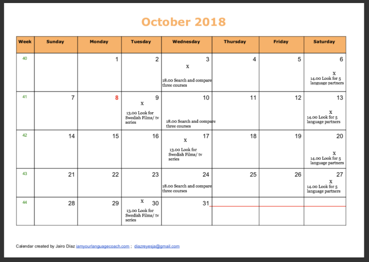 Motivational Calendar October 2018 Swedish 2
